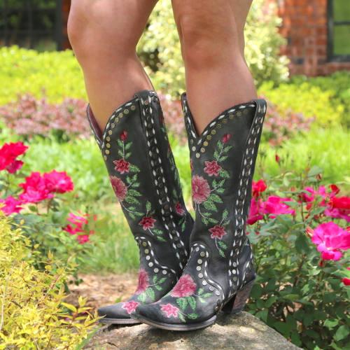 Women Side Rivet Flower Boots