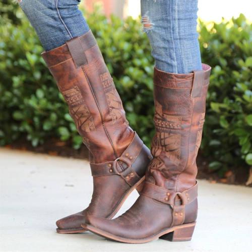 Women Brown Cowgirl Rivet Boots