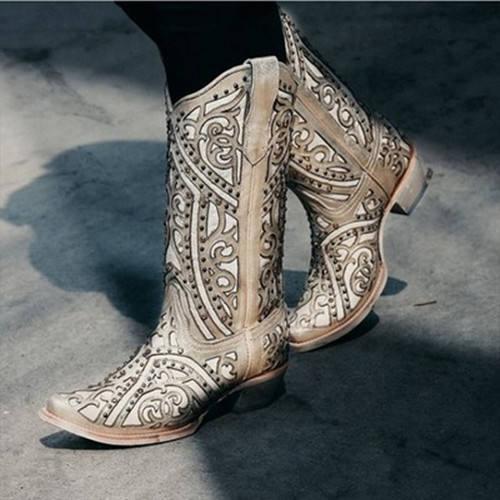Women Beige Crystal Boots