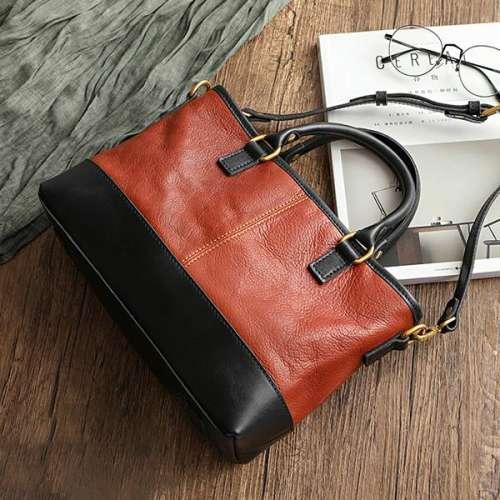 Contrast Color Retro Female Handmade Potable Bag