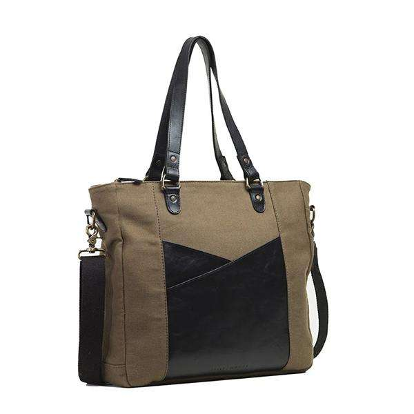 Full Grain Leather Canvas Laptop Tote Bag