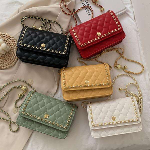 Textured Diamond Chain Small Square Bag