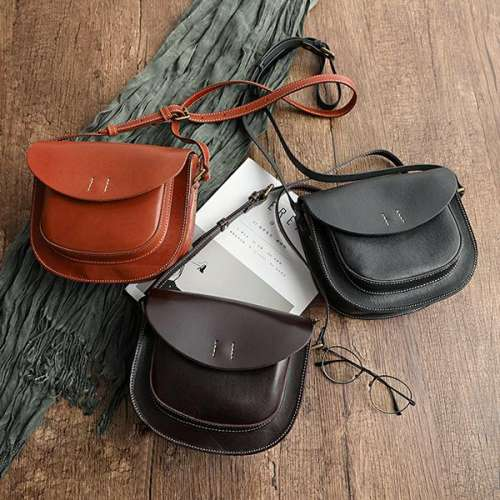 All-Match Top Layer Vegetable Tanned Leather Cowhide Single Shoulder Ladies Pouch Bag