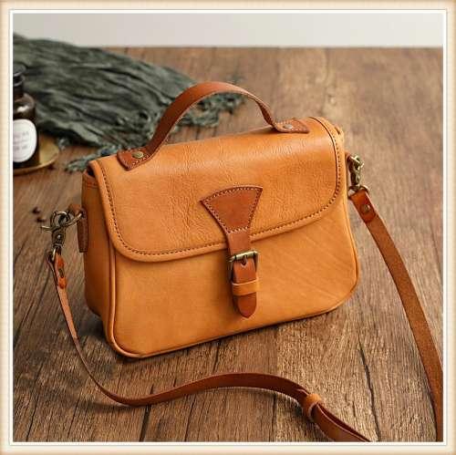 Ladies Retro Diagonal Handmade Leather Handbag
