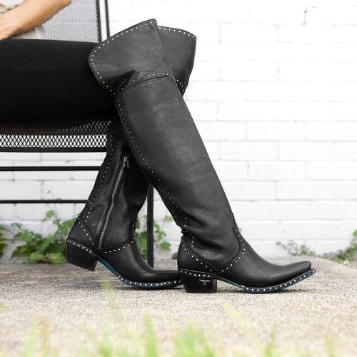 Women Pure Black Rivet Boots