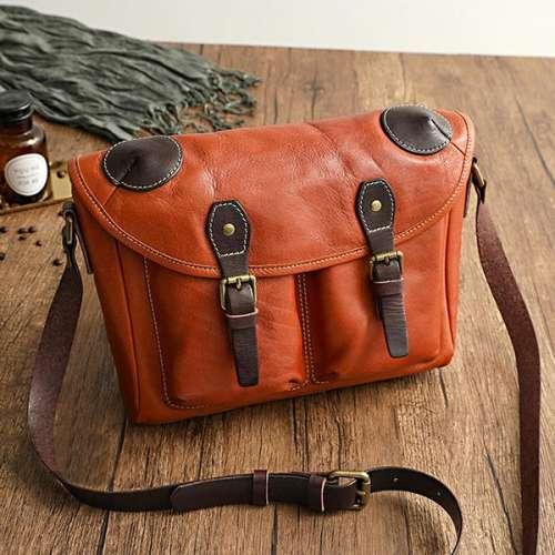 Vegetable Tanned Leather Cowhide Handmade Bag
