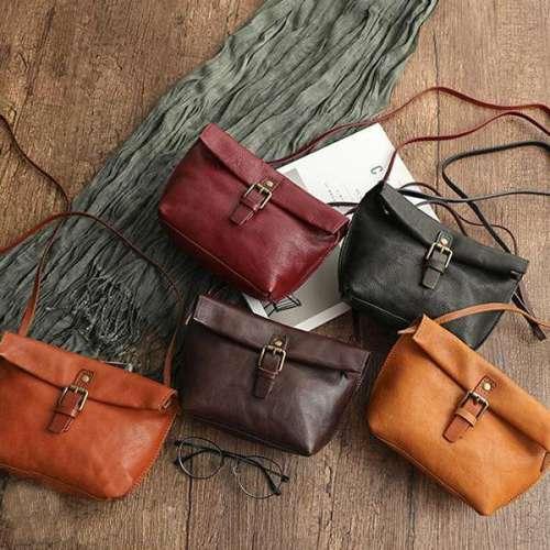 Handmade High-End Leather Retro Diagonal Female Bag