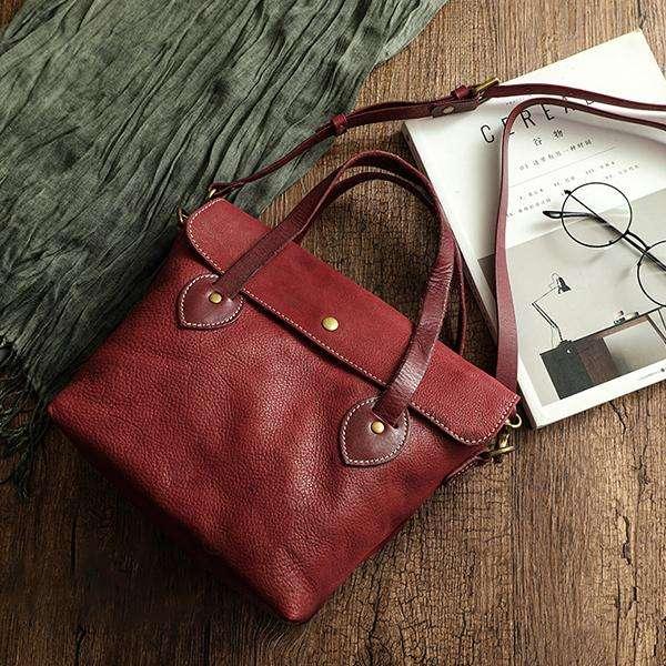Leather Handbag Vegetable Tanned Retro Messenger Bag
