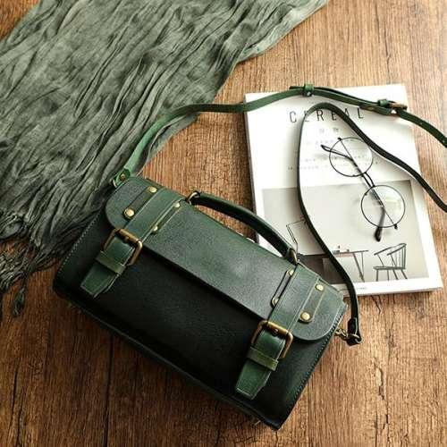 Ladies Retro Square Diagonal Handmade Leather Diagonal Handbag