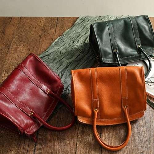 Vintage Leather Shoulder Handbag Large Capacity Handmade Leather Handbag