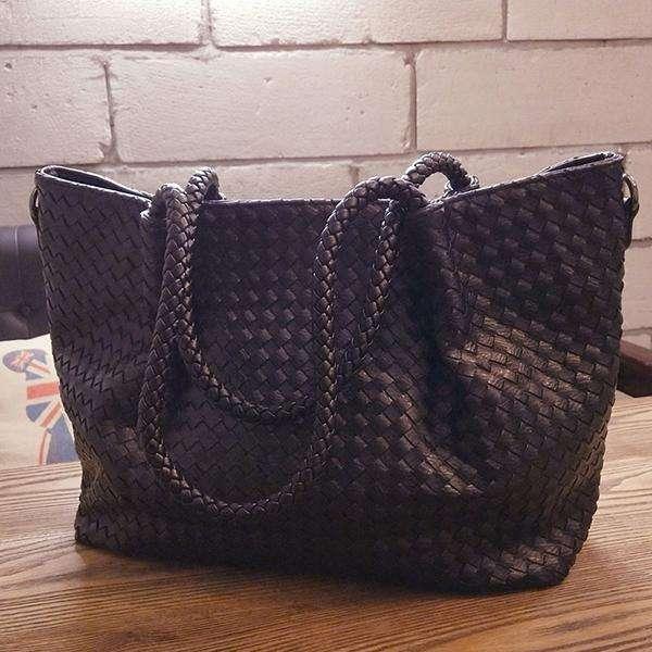 Women Large-Capacity Woven Shoulder Bag