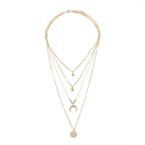 Fashion Tiered Moon Pendant Necklace