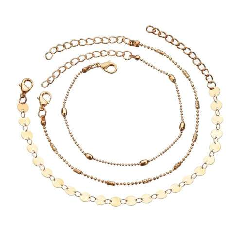 3pc/set Women Summer Beads Pendant Layers Anklet Beach Foot Jewelry