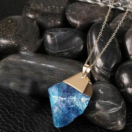 Surfer blue natural stone necklace