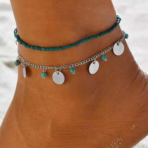 2Pcs Turquoise Hollow Flower Pendant Anklets