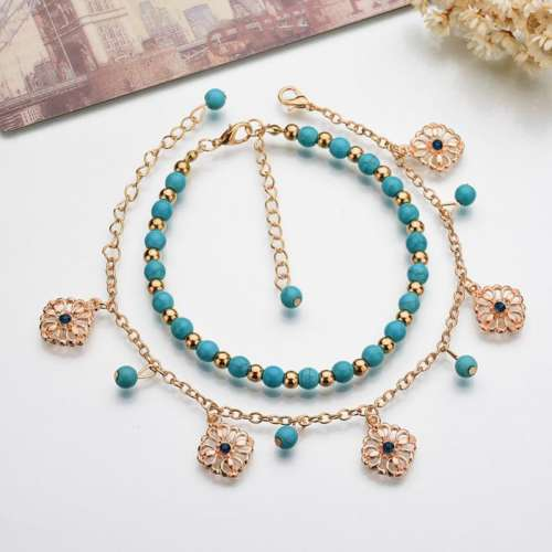 Retro Alloy Turquoise Hollow-out Flower Multilayer Anklets