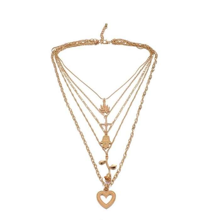 Women Multilayer Cross Love Necklace
