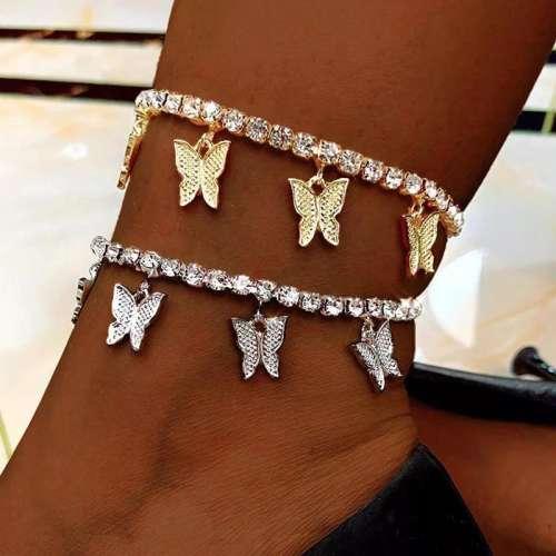 Women Fashion Alloy Butterfly Rhinestone Anklets