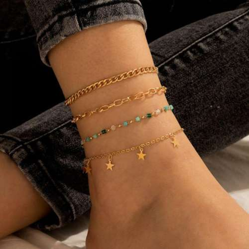4Pcs five-pointed Star String Beads Wheat Anklet Set
