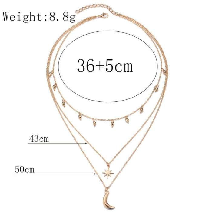 Gold Plated Moon Star Multilayer Necklaces