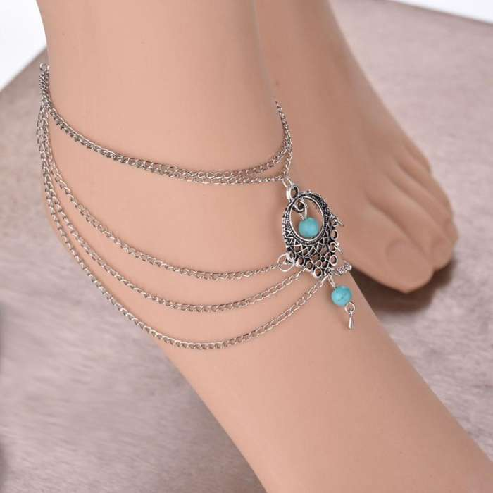 Boho Style Turquoise Beach Anklet Chain Wedding Foot Jewelry