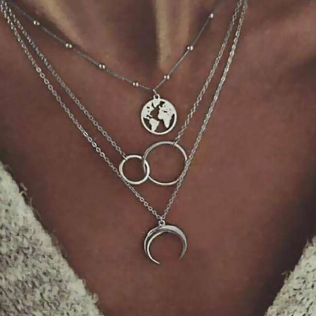 Women Fashion Geometric Three-layer Necklace
