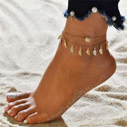 3pc/set Women Summer Leaves Tassel Beach Anklet Pendant Layers Anklet