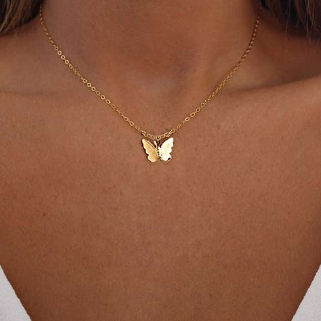 Women Fashion Simple Alloy A Butterfly One Size Necklaces