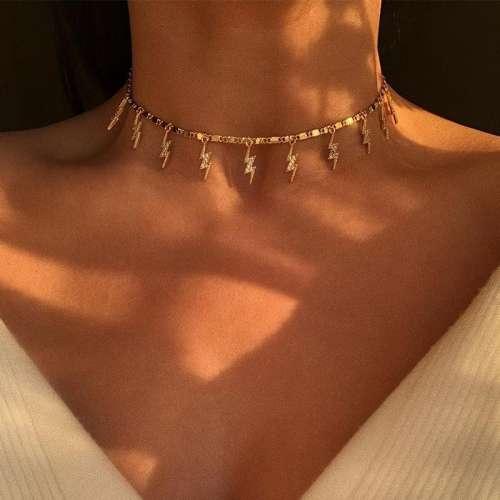 Women Fashion Alloy Lightning Rhinestone Necklaces