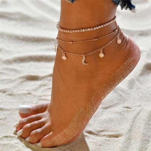 3pc/set Women Star Tassel Pendant Layers Anklet Summer Beach Anklet