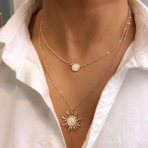Fashion Opal Sunflower Multilayer Necklaces