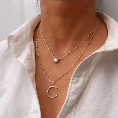 Fashion Rhinestone Moon Pendant Multi-layer Necklace
