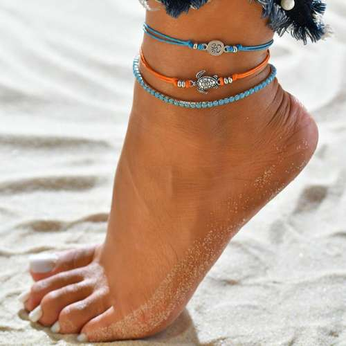 Bohemia Simple Weave Little Turtle Multilayer Anklets