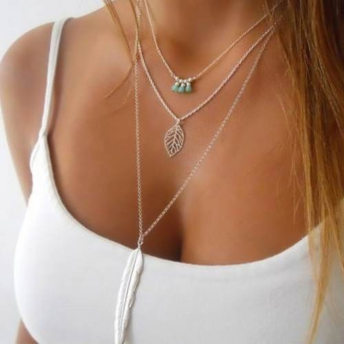 Multilayer Turquoise Leaf Long Pendant Necklace