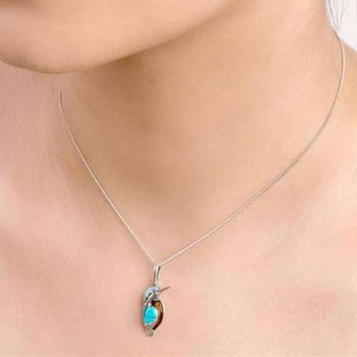 Women Elegant Cute Birdie Kallaite Necklaces
