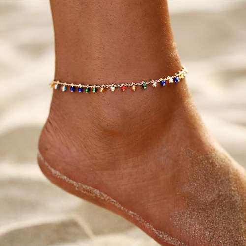 Colored Rice Bead Pendant With Tassel Anklets