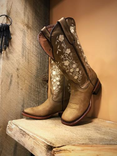 Womens Floral Embroidery Cowgirl Square Toe Boots Tan