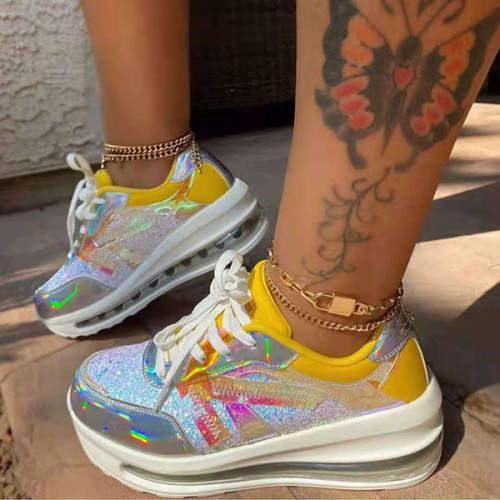Women's Stylish Sequined Platform Sneakers