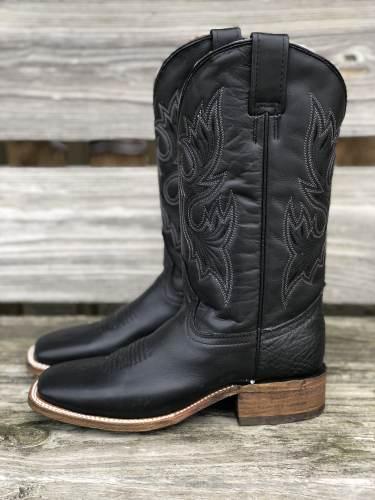 Women's Black Wide Square Toe Western Boots