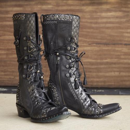 Woemn Western Side Zipper Rivet Boots