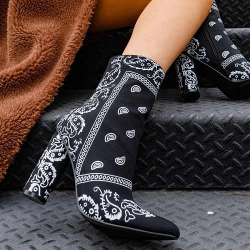SNAKE SKIN CHUNKY STACKED HIGH HEELED ANKLE BOOTS