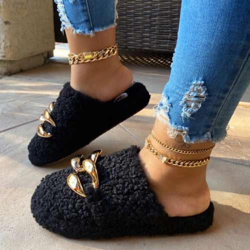 Metal Chain Curled Plush Cotton Slippers