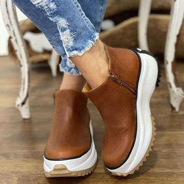 Women Solid Color Platform Sports Ankle Boots