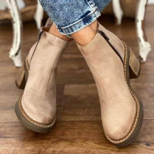 Women's Solid Color Vegan Leather Booties
