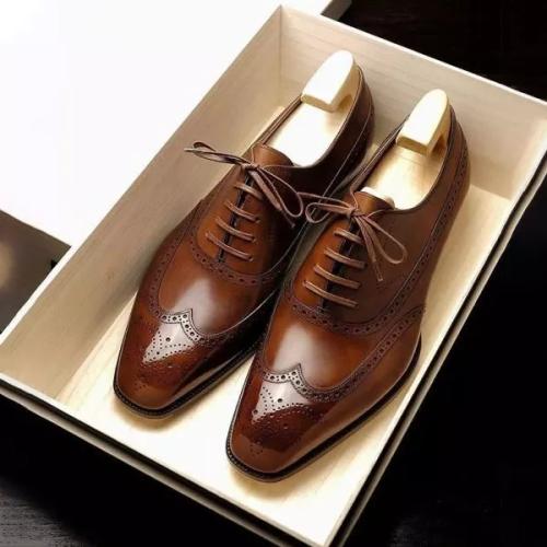 Handmade Men Brown Brogue Toe Formal Dress Shoes