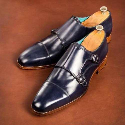 Blue Leather Dual Buckle Slipon Monk Shoes for Men