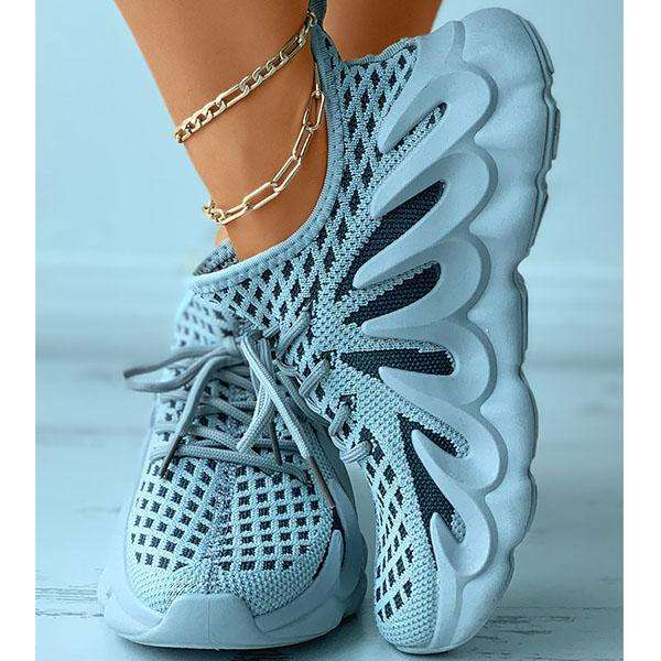 Colorblock Knit Breathable Lace-Up Sporty Sneakers