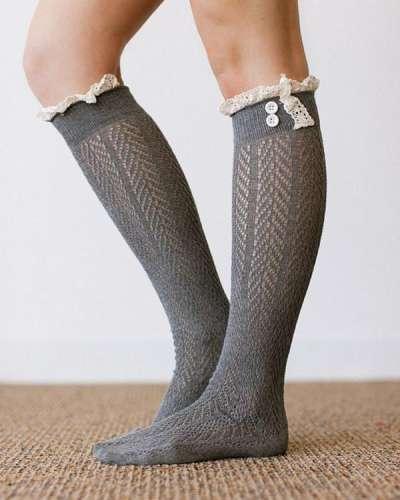 Ladies Lace Over Knee Socks