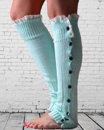 Ladies Christmas Lace Over Knee Woolen Socks Legs