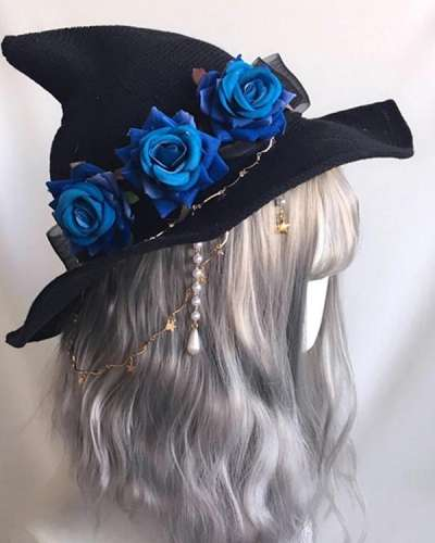 Halloween Rose Witch Hat